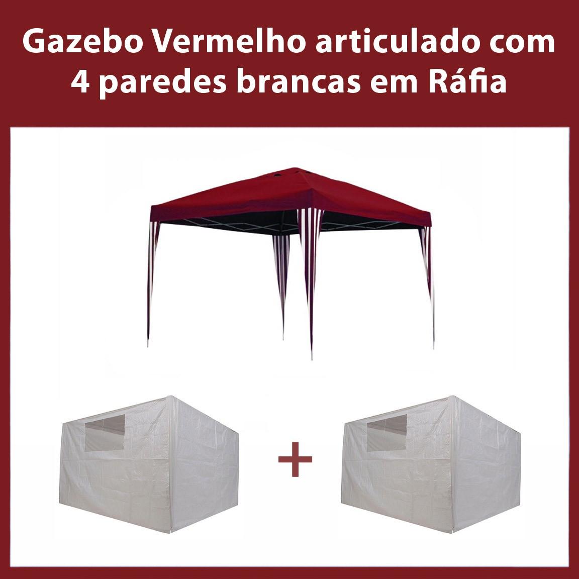 Gazebo 3x3 Articulado Vermelho  em  Aço + 4 Paredes Brancas de Ráfia Eleva Mundi