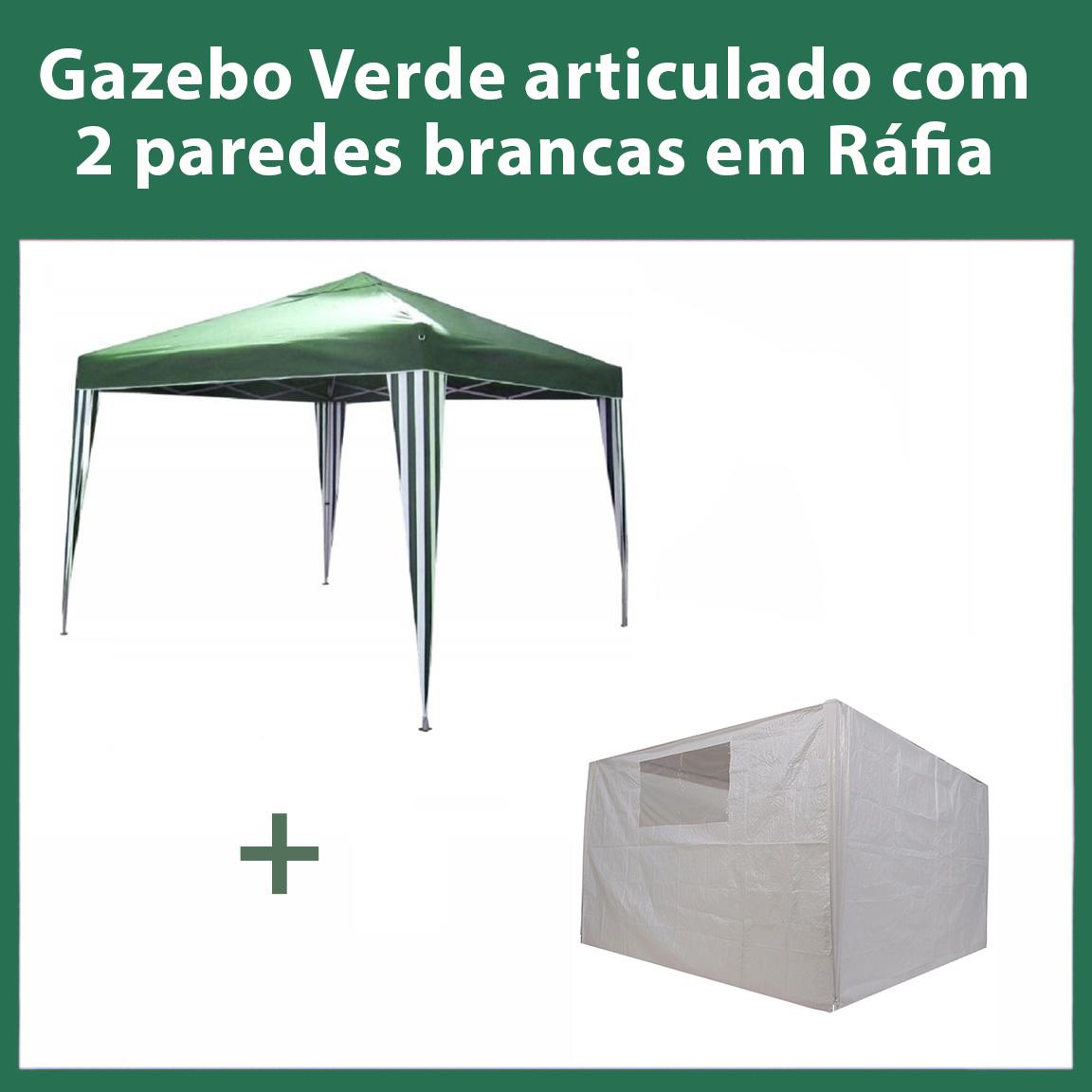 Gazebo 3x3 Articulado Verde em Aço + 2 Paredes Brancas de Ráfia Eleva Mundi