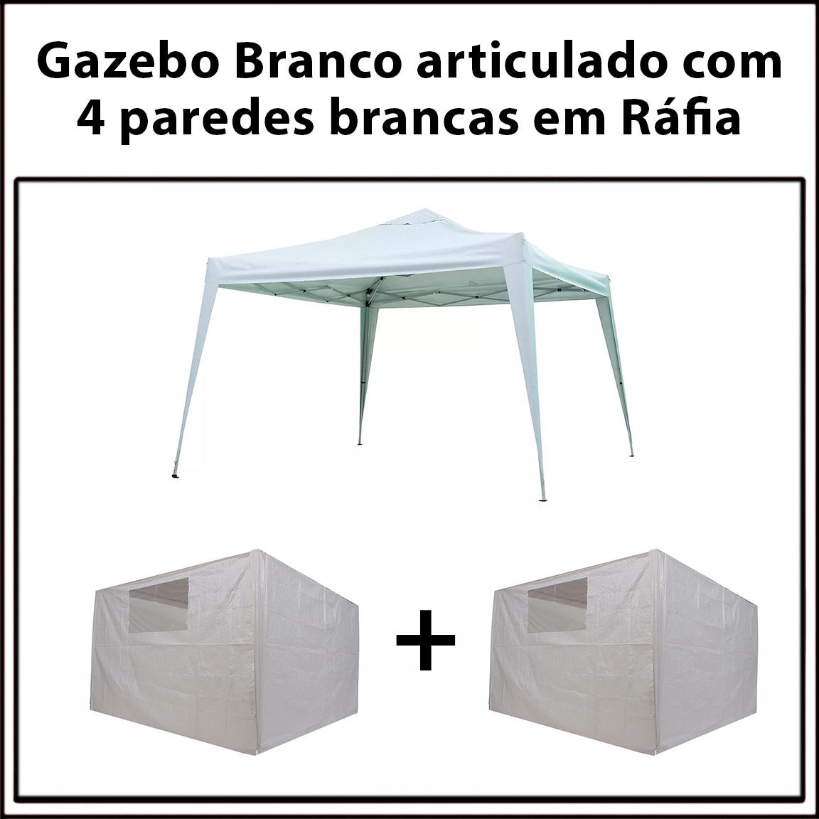 Gazebo 3x3 Articulado Branco em Aço + 4 Paredes Brancas de Ráfia Eleva Mundi