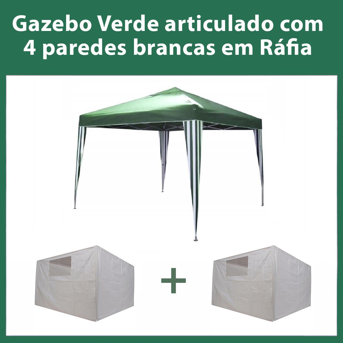 Gazebo 3x3 Articulado Verde em Aço + 4 Paredes Brancas de Ráfia Eleva Mundi
