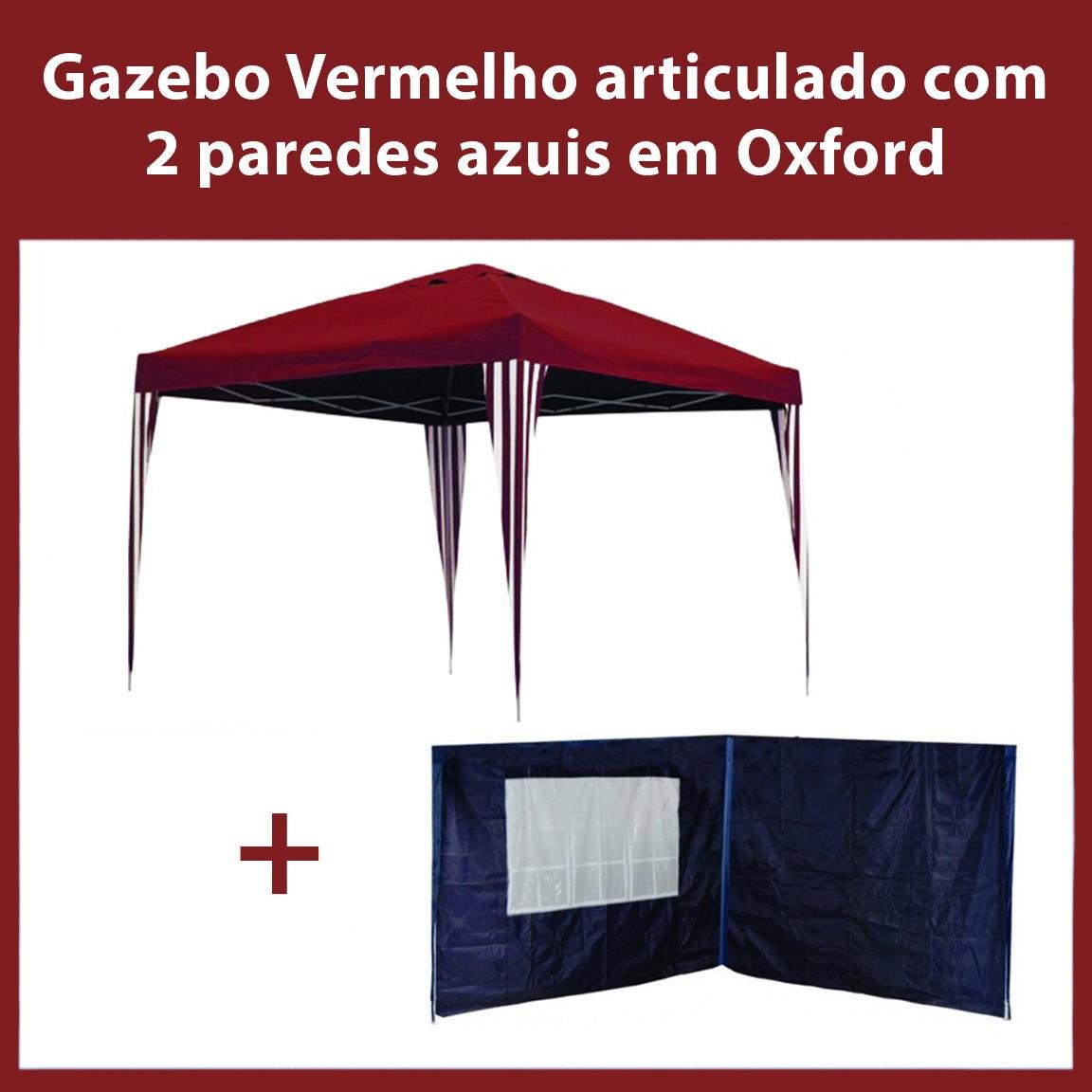 Gazebo 3x3 Articulado Vermelho em Aço + 2 Paredes Azuis de Oxford Eleva Mundi