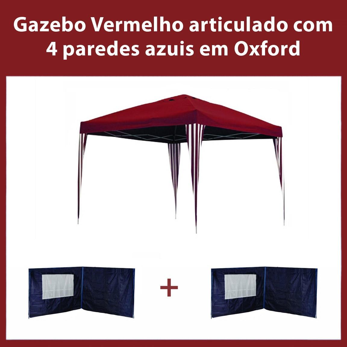 Gazebo 3x3 Articulado Vermelho em Aço + 4 Paredes Azuis de Oxford Eleva Mundi