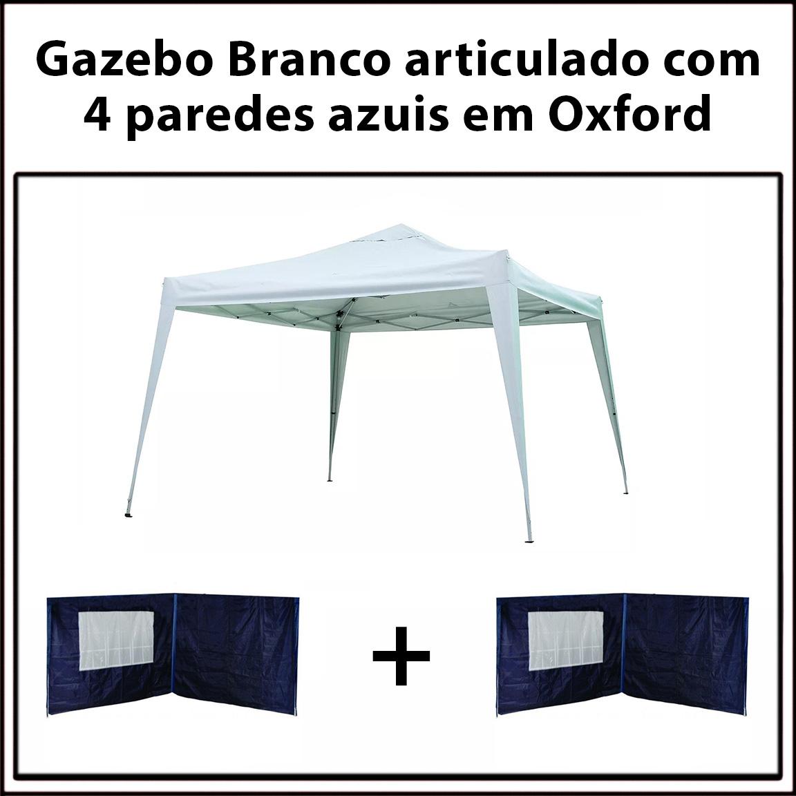 Gazebo 3x3 Articulado Branco em Aço + 4 Paredes Azuis de Oxford Eleva Mundi
