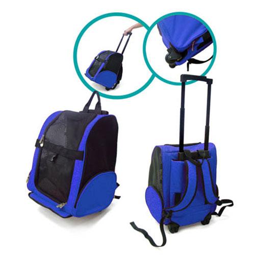 Mochila Pet Travel com Rodinhas Eleva Mundi - Azul