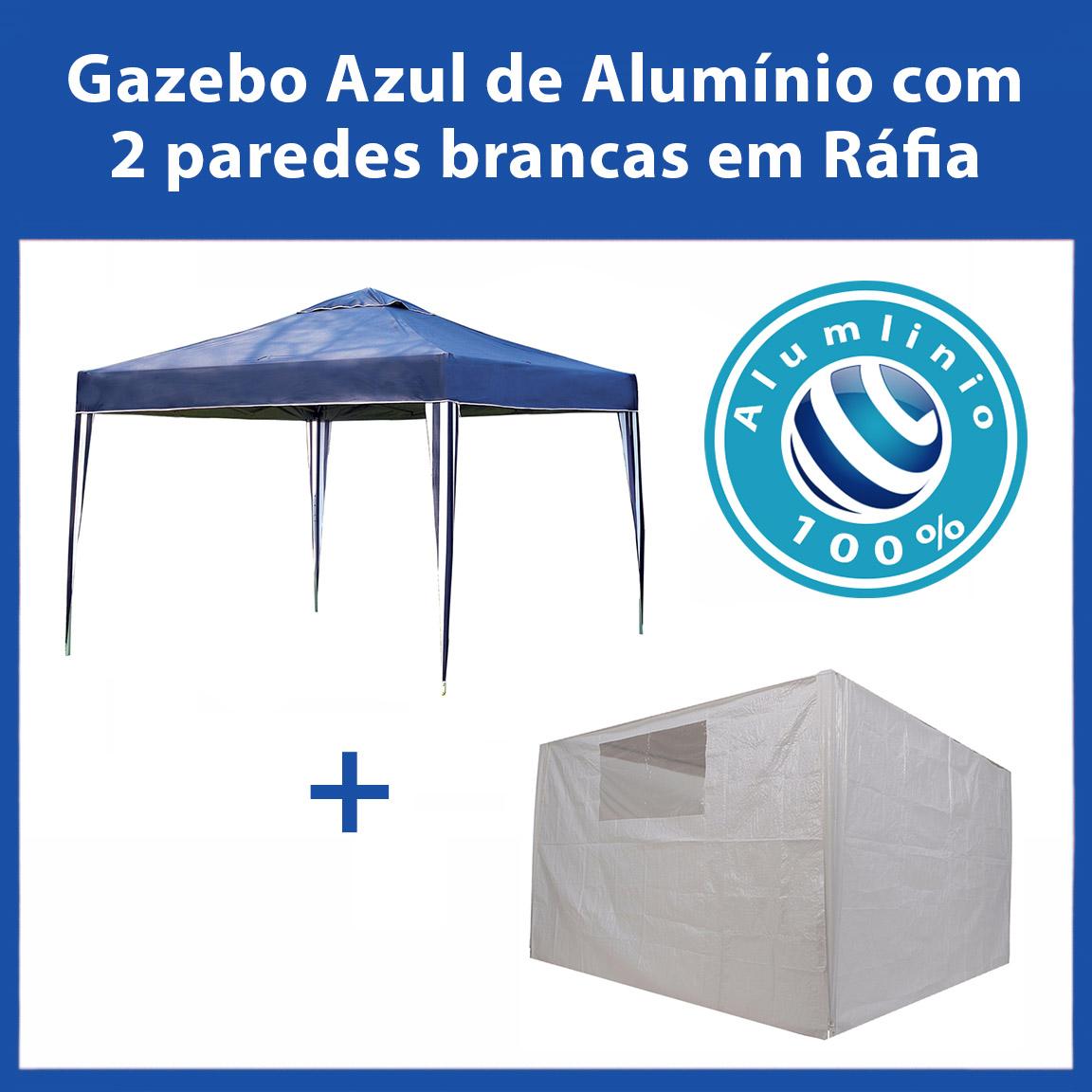 Gazebo 3x3 Articulado 100% Alumínio Eleva Mundi - Azul + 2 paredes de ráfia