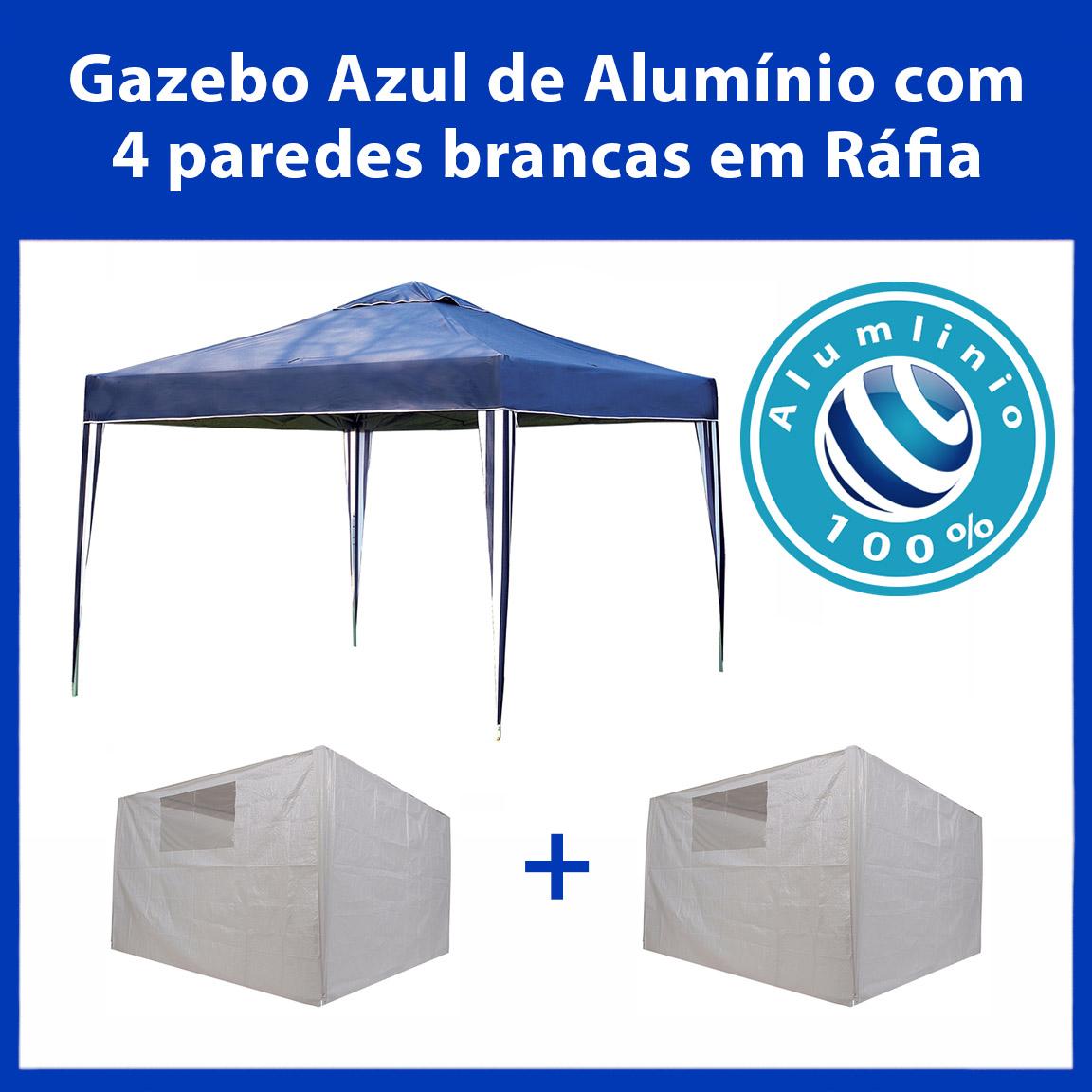 Gazebo 3x3 Articulado 100% Alumínio + 4 Paredes Brancas de Ráfia Eleva Mundi - Azul