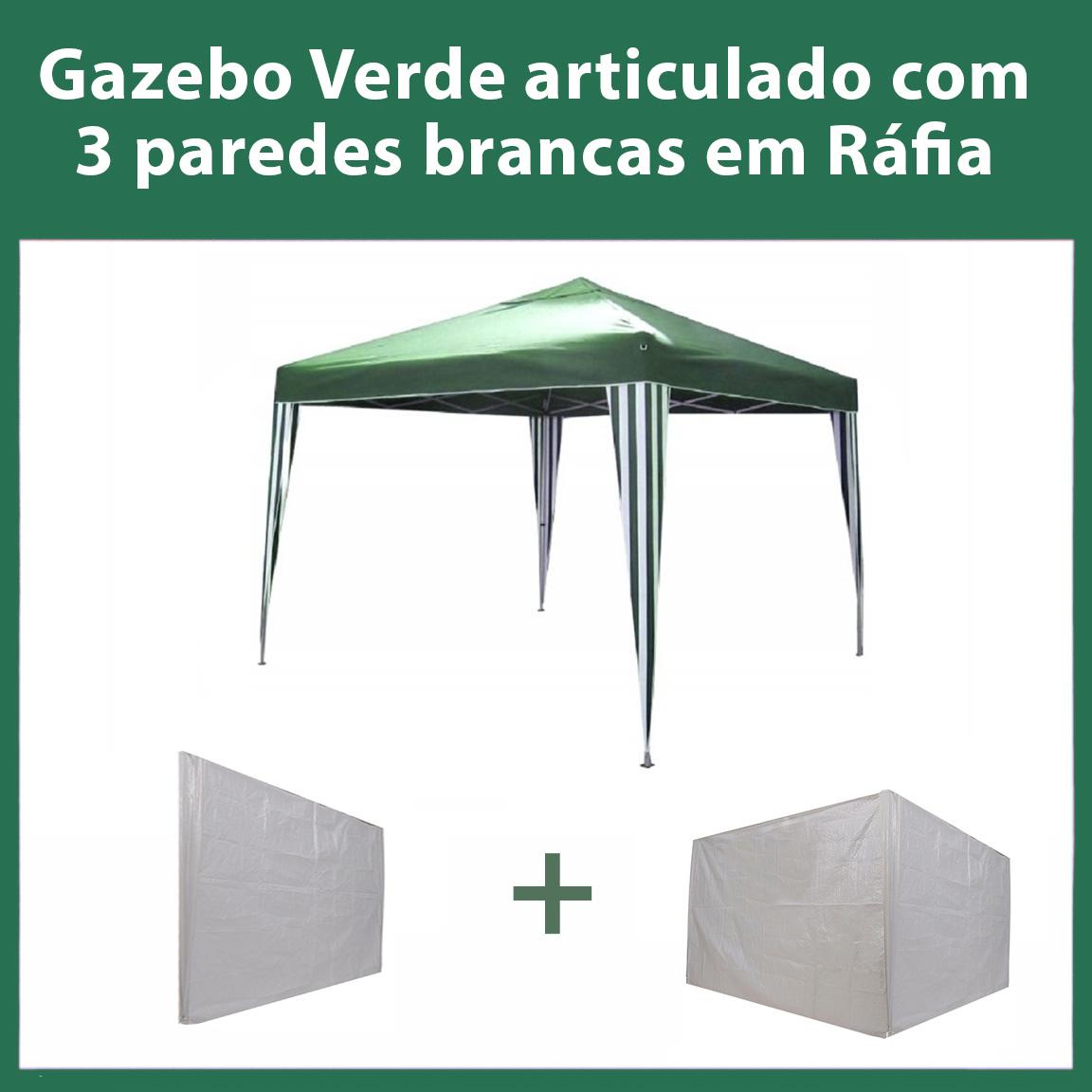 Gazebo 3x3 Articulado Verde em Aço + 3 Paredes Brancas de Ráfia Eleva Mundi