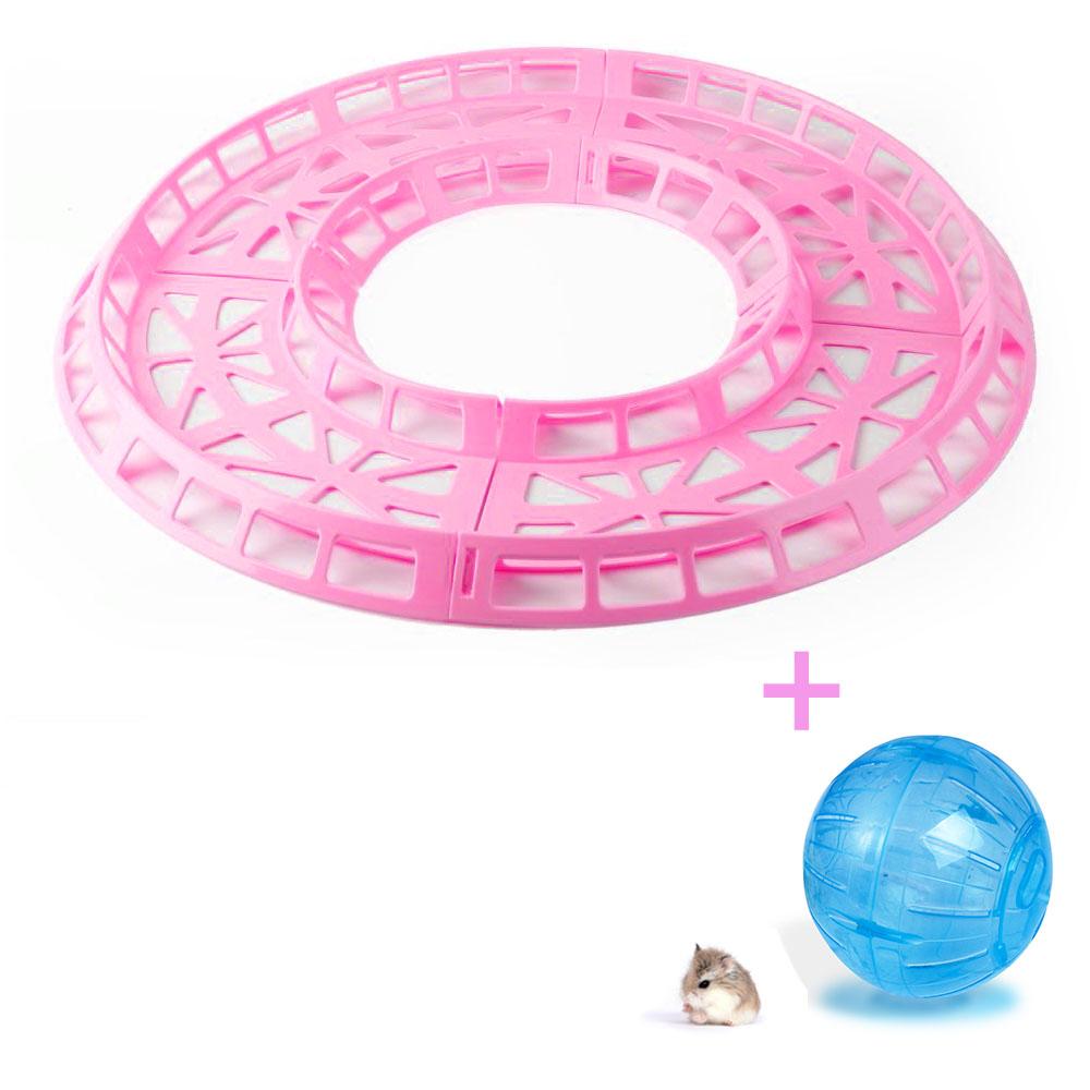 Pista de Corrida Rosa para Hamster + Globo Azul 14.5cm Eleva Mundi