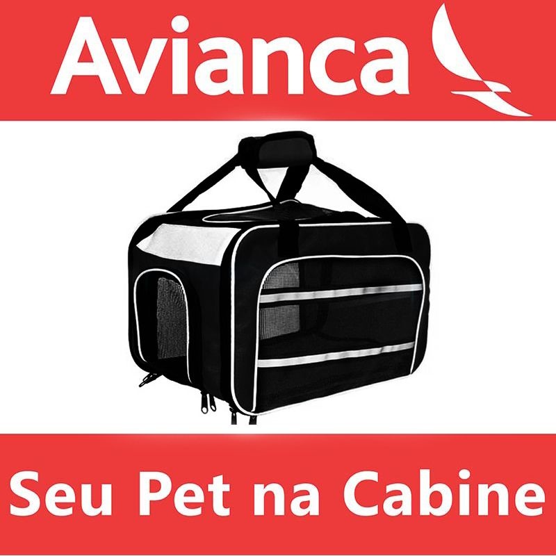 Bolsa para Transportar seu Pet na Cabine do Avião - Cia AVIANCA - Eleva Mundi - (Cor Preto)