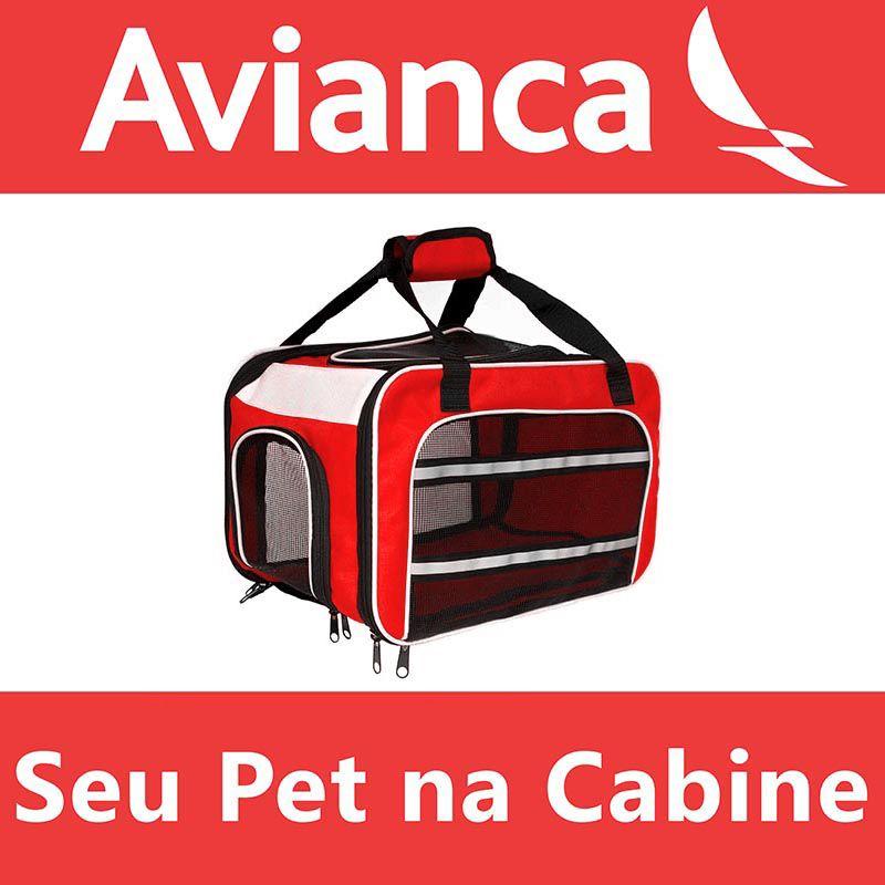 Bolsa para Transportar seu Pet na Cabine do Avião - Cia AVIANCA - Eleva Mundi - (Cor Vermelho)