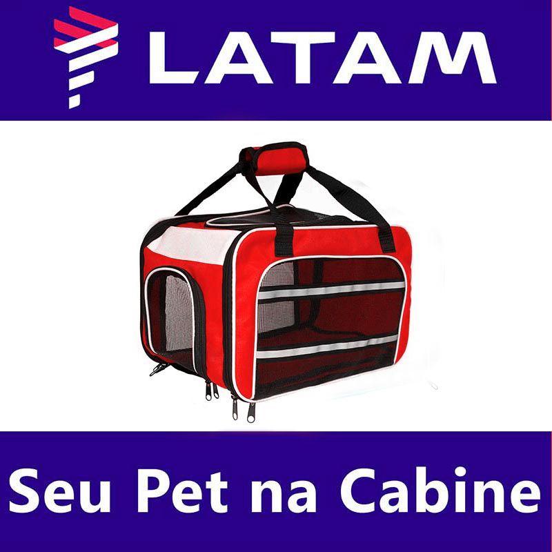 Bolsa para Transportar seu Pet na Cabine do Avião - Cia LATAM - Eleva Mundi - (Cor Vermelho)