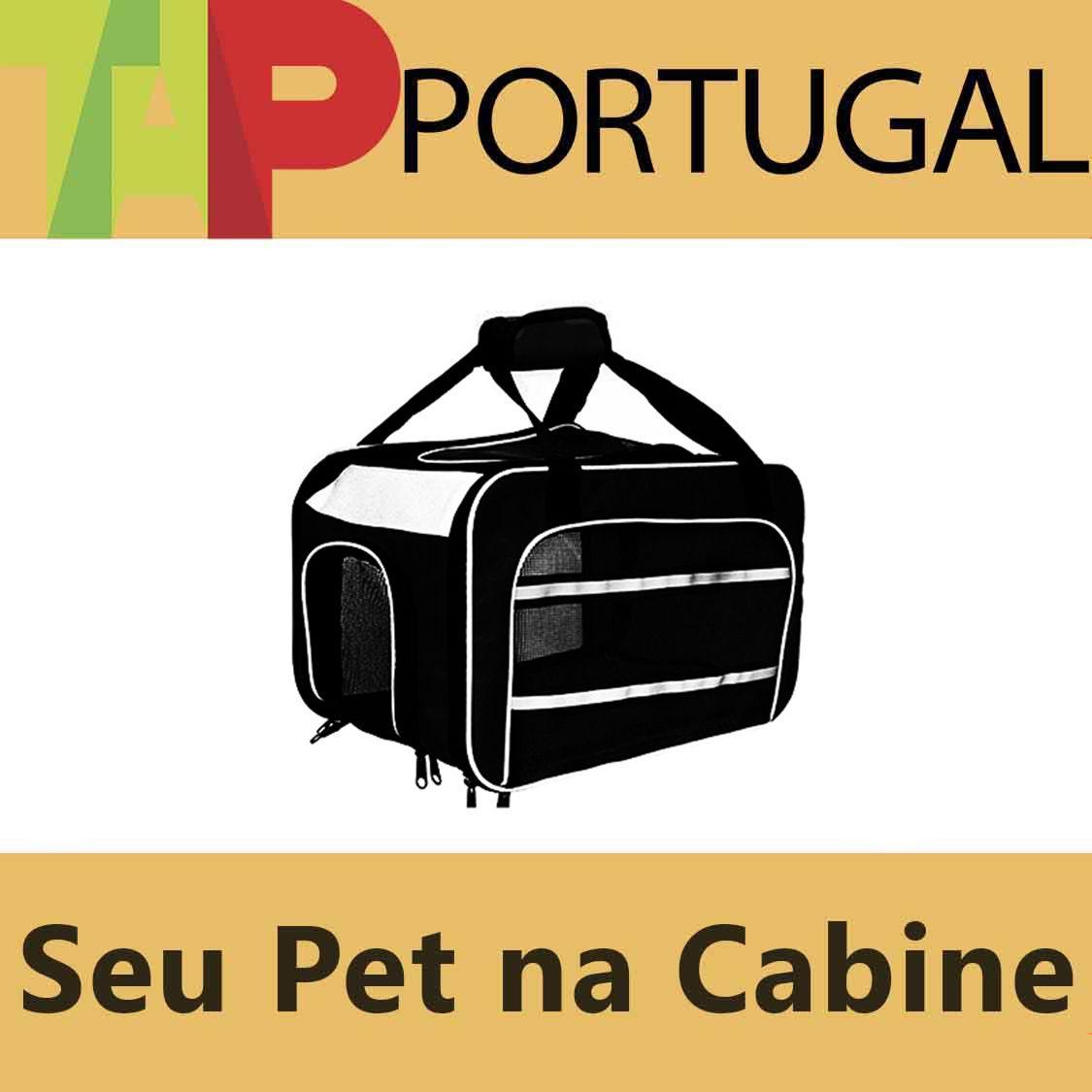 Bolsa para Transportar seu Pet na Cabine do Avião - Cia TAP Portugal  - Eleva Mundi - (Cor Preto)