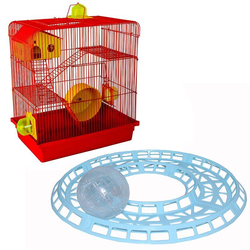 Gaiola Hamster 3 Andares Jelplast + Pista Corrida globo 14,5 cm