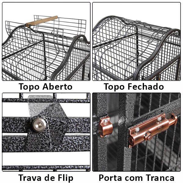 Viveiro Bird Fly modelo Chalé Grande - Preto