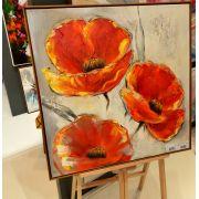Quadro Pintura 3 Flores Vermelho Fullway 80x80x4cm
