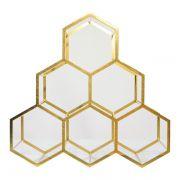 Adega em Metal dourada para 6 garrafas 34x34x17cm
