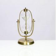 Ampulheta Oval Grande Inox Vidro Dourado 31x16x11cm