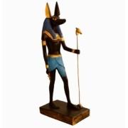 Estatua Egipcia Imagem de Anubis Azul Em Pé 20 Cm