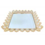 Bandeja Quadrada Dourada Cristal K9 50x6cm