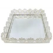 Bandeja Quadrada Prata Cristal K9 38x10cm