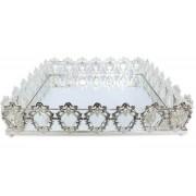 Bandeja Quadrada Prata Cristal K9 45x10cm