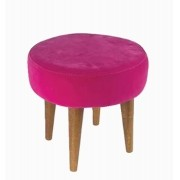 Banqueta Redonda Rosa Palito Baixo Suede 39x35x35cm
