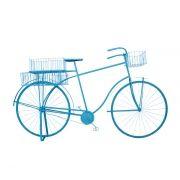 Bicicleta Retrô Azul Decorativa Metal Oldway 101x184x57cm