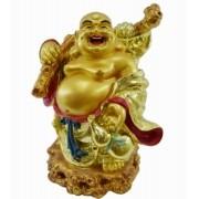 Estatua Imagem de Buda Dourado Gordo Gg Importado