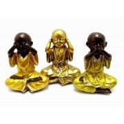 Estatua Imagem de Buda Dourado Não Ouço/Vejo/Falo Resina Importado