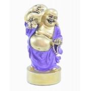 Estatua Imagem de Buda Em Pé Roxo Com Saco