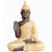 Estatua Imagem de Buda Gg Dourado Com Preto Importado
