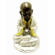 Estatua Imagem de Buda Namaste Prata Importado