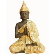 Estatua Imagem de Buda P Dourado Com Preto Importado