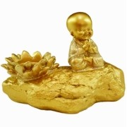 Estatua Imagem de Buda Porta Vela Dourado Importado