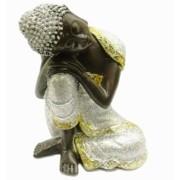 Estatua Imagem de Buda Prata De Resina Importado