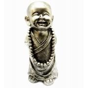 Estatua Imagem de Buda Prata Em Pé Com Colar Importado
