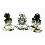 Estatua Imagem de Buda Prata Não Ouço/Vejo/Falo Resina Importado