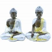 Estatua Imagem de Buda Prata P Com 2 Importado