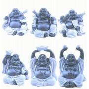 Estatua Imagem de Buda Preto E Cinza C/ 6 Importado