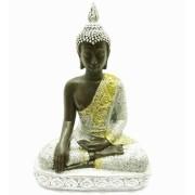Estatua Imagem de Buda Tibetano Prata De Resina Importado
