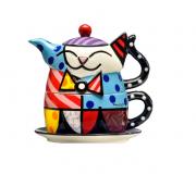 Bule Para Chá Em Cerâmica Gato Colorido Romero Britto