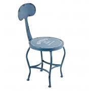 Cadeira Azul Bistro Paris Ferro 80x38x46cm