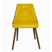 Cadeira Encosto Vergada Pu Yellow Pes Madeira
