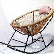 Cadeira Tramada Balanço - Amarela E Pés Preto