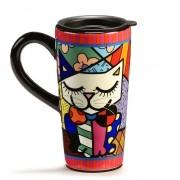 Caneca Em Cerâmica Para Viagem Gato Romero Britto