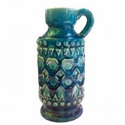Castiçal Em Cerâmica Azul 10x11x21cm