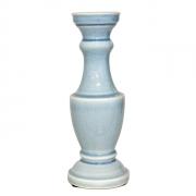 Castiçal Em Cerâmica Azul 9x9x22cm