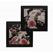 Cj 2 Telas Impressas C/ Mold Rosas Dark Floral