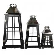 Conjunto 3pçs Lanterna Decorativa Preta E Inox Prata
