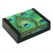 Conjunto 4 peças Porta Copo de Vidro com Caixa Pavão